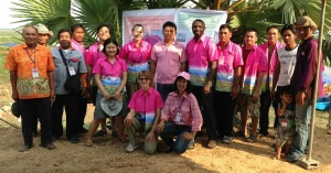 Our group and the staff of the water lily business