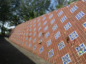 The wall commemorating those who died in the December 2004 tsunami