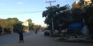Morning view on Monywa main street